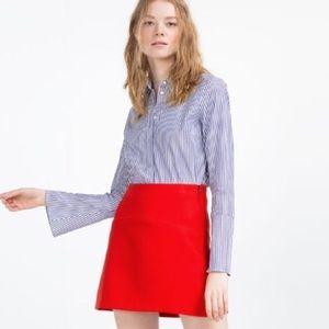 Zara red a-line mini skirt xs